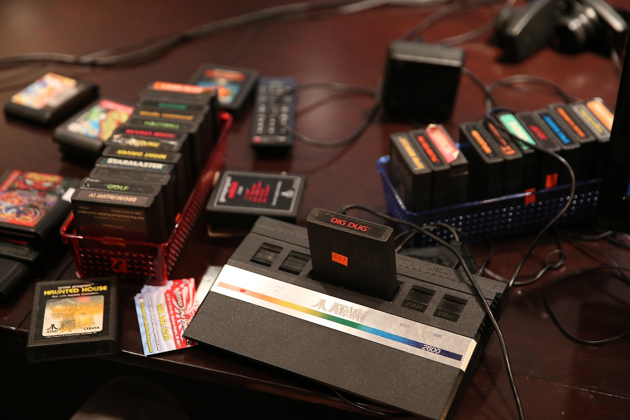 Atari 2600 with a lot of games and accessories