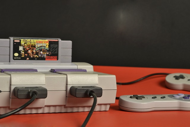 classic video game console setup