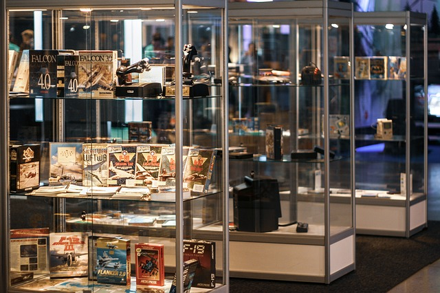 video game collection on display